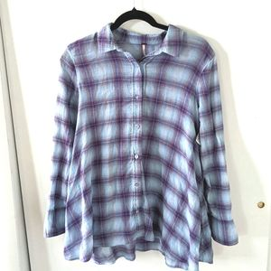 Free People Blue and Purple Button Up  Light weigh